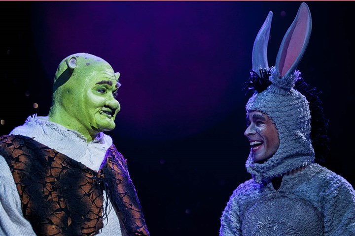"Shrek and Donkey Billy Mason as Shrek and David Toole as Donkey in Pittsburgh Musical Theater's ""Shrek the Musical,"" which opened Thursday at the Byham Theater."