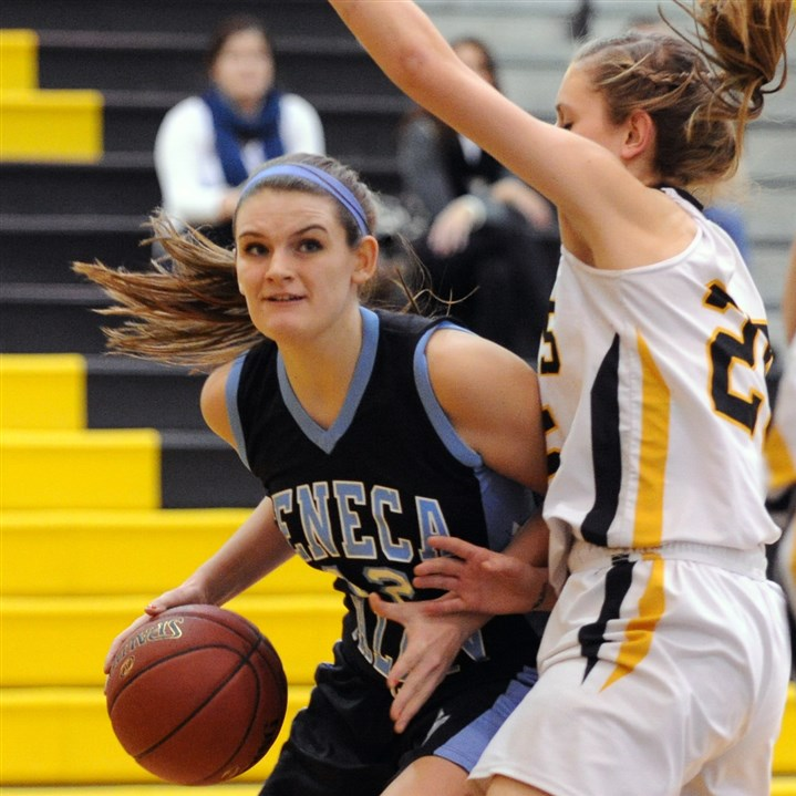 NA0212 Seneca Valley's Abbie Trzeciak looks to drive against North Allegheny, which won Class AAAA Section 3 and has the look of a WPIAL championship team.