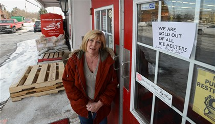 Salt shortage Greentree Hardware co-owner Diane Dunbar is left with empty pallets that used to hold her stock of ice-melting material. Her store is one of many in the region that's out of stock.