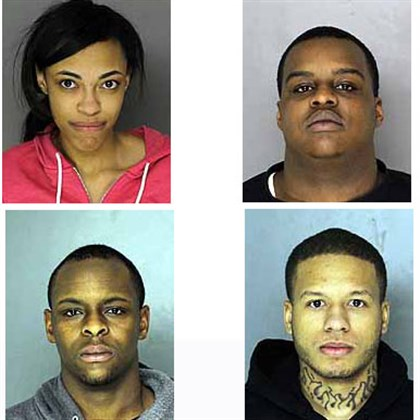 Four people were arrested Top row: Aliyah Jenkins, Alphonso Francis. Bottom: Dijuan Bray, Jajuan Dudley.