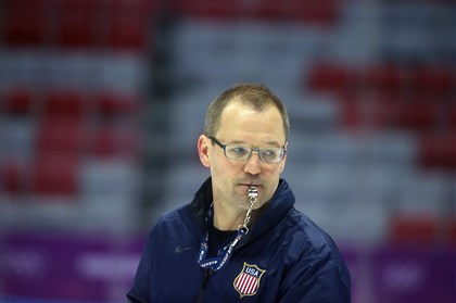 Dan Bylsma Head coach of Team USA Dan Bylsma conducts practice on day three of the Sochi 2014 Winter Olympics at Bolshoy Arena on February 10, 2014 in Sochi, Russia.