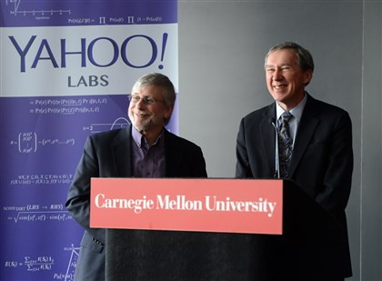 2014212RARbizyahoo4-3 Dr. Ron Brachman, Chief Scientist and Head of Yahoo Labs and Dr. Tom Mitchell, head of the Machine Learning Department at CarMegie Mellon University, speak to the media on the new partnership on machine learning.