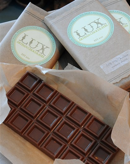 Mon Aimee Chocolate Lux chocolate bars, sold at Mon Aimee Chocolate shop in Pittsburgh's Strip District.