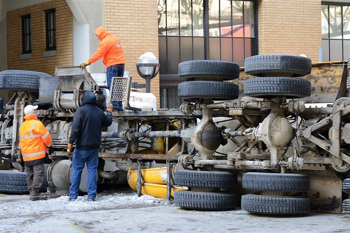 Overturned truck A cement truck overturned this morning after it rear-ended a Port Authority bus on Second Avenue. Ten people were taken to hospitals.