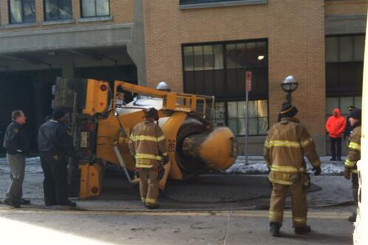 Truck accident Part of Second Avenue, Downtown, was shut this morning because of an overturned cement mixer.