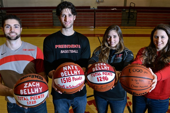 The Bellhy siblings from Fort Cherry Zach, Nate, Beka, and Rachel Bellhy have all scored over 1,000 points at Fort Cherry High School.