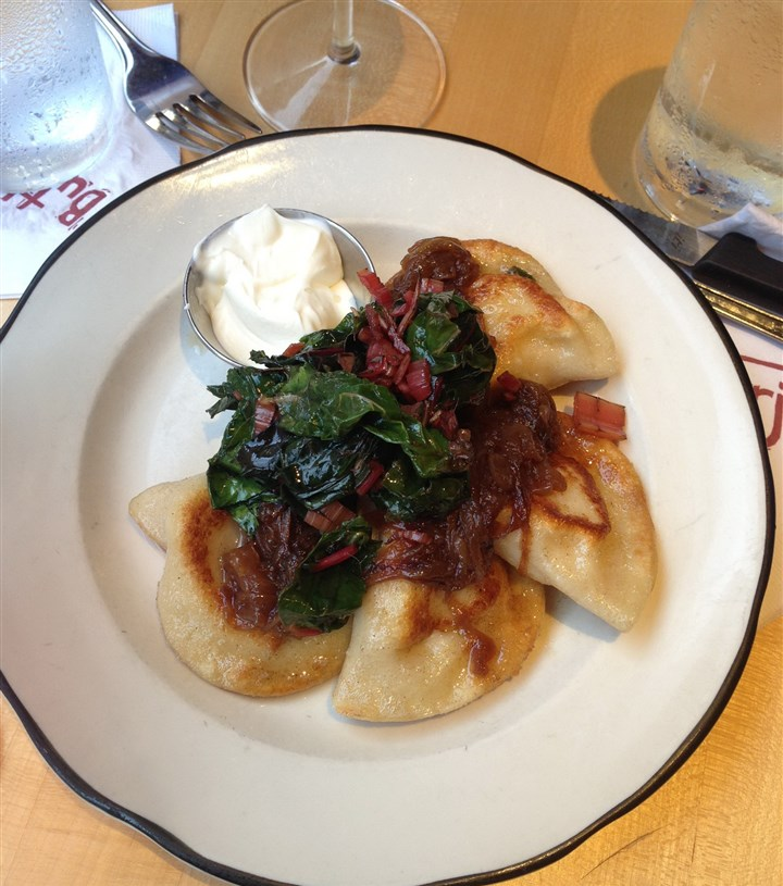 Butterjoint Pierogies with sauteed greens at Butterjoint in Oakland.