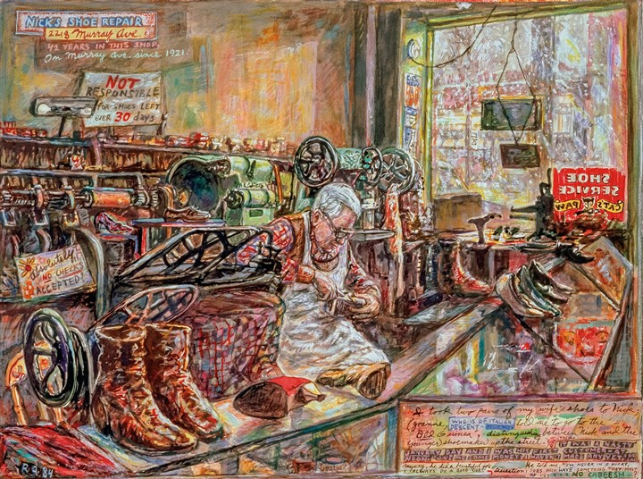 "NicksShoeRepair-3 ""Nick's Shoe Repair, 1984."" Mixed media on paper, 22 x 30 in. Collection of William and Mary Price"