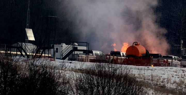 Chevron gas well site in Greene County The fire burns on at the Chevron gasw ell site.