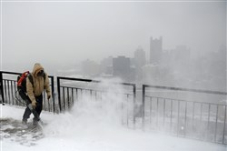 A winter storm seen atop Mount Washington in Pittsburgh in February.