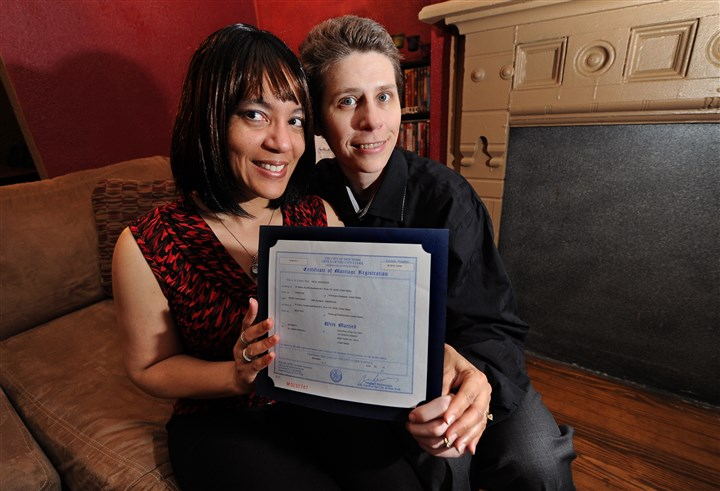 Diane and AJ Anderson Diane and AJ Anderson hold their New York City marriage license they were issued June 22, 2012.