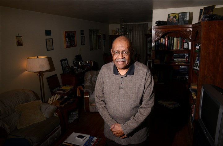 20140213MWHcooperatives0217Local01 Shadrach Moon, 80, standing inside his Belmar Gardens home in Lincoln-Lemington, is one of four original residents remaining in the development.