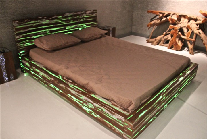 lasvegas2-4 Woodbrook Designs' innovative Expose bed constructed of solid teak with resin infused LED lighting. The lights change colors and intensity and can be made to blink with a remote control. Credit Patricia Sheridan
