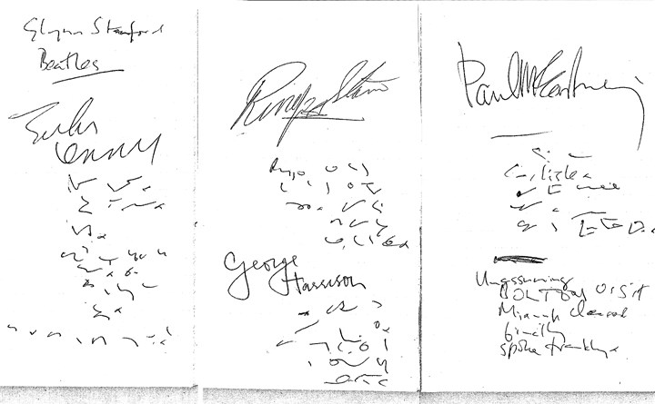 Beatles_Autographs BEATLE BOOK -- Alan Pearce's reporter's notebook with the invaluable signatures of the Fab Four: