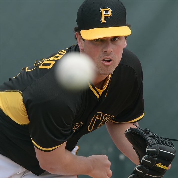 mazzaro0316 Pirates reliever Vin Mazzaro delivers in a bullpen session in Bradenton, Fla. He threw two scoreless innings in Saturday's loss to the Rays.