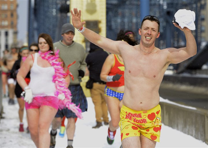 20140215ppUndieRun3toned John Howey of Franklin Park joined nearly 600 runners Saturday in Pittsburgh's first Cupid's Undie Run to raise money for the Children's Tumor Foundation.