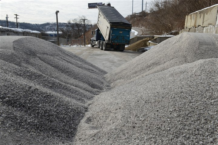Salt delivery A truck delivers salt on Monday to the City of Pittsburgh Public Works 3rd Division in Hazelwood.