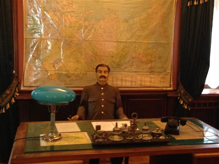 20140217photo51 A life-size wax statue of Josef Stalin sits behind a desk in his office in the dacha.