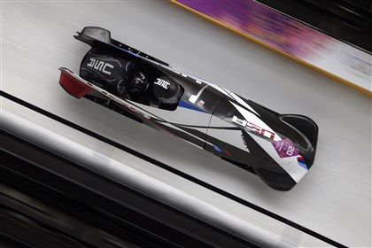 USA-1 bobsled, Williams and Meyers The team from the United States USA-1, piloted by Elana Meyers with brakeman Lauryn Williams, speed down the track during the women's two-man bobsled competition at the 2014 Winter Olympics Feb. 18 in Krasnaya Polyana, Russia.
