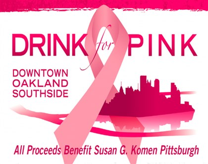 Drink for Pink logo The logo for the event Drink for Pink to benefit Susan G. Komen Pittsburgh.