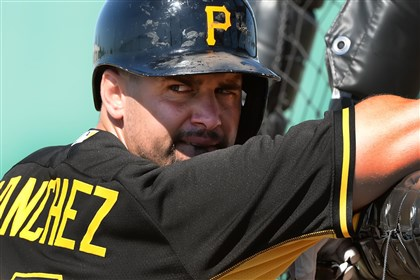 gabysanchez0223 Pirates first baseman Gaby Sanchez watches batting practice at sprint training in Bradenton, Fla.