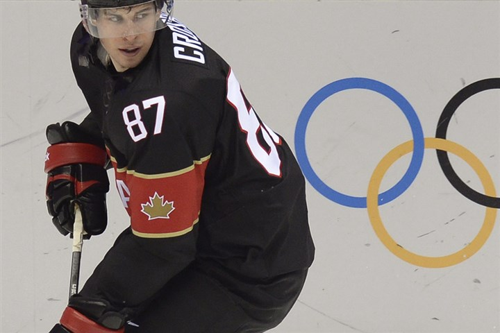 Sidney Crosby vs. Austria at Olympics Canada forward Sidney Crosby skates during the Men's Ice Hockey Group B match, Canada vs. Austria, at the Bolshoy Arena during the Sochi Winter Olympics.