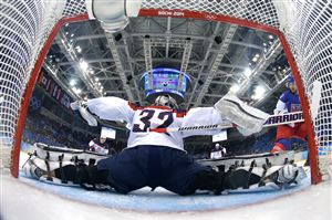 SOCHI, -- FEBRUARY 19: Jonathan Quick #32 of the United States makes a save during the Men's Ice Hockey Quarterfinal Playoff on Day 12 of the 2014 Sochi Winter Olympics at Shayba Arena on February 19, 2014 in Sochi, Russia.