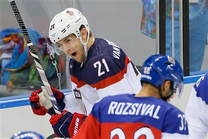 James van Riemsdyk celebrates his goal Team USA forward James van Riemsdyk celebrates his goal against the Czech Republic on Wednesday during the first period of men's quarterfinal hockey game in Shayba Arena at the Winter Olympics in Sochi, Russia.