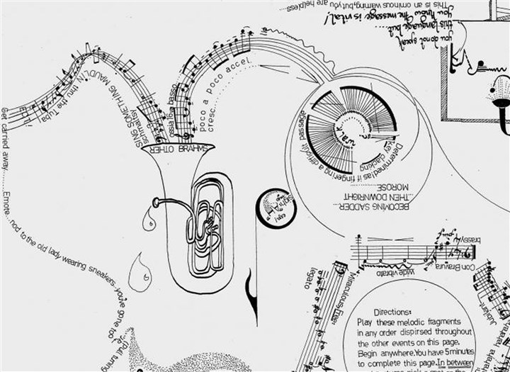 "20140220HONostrand2 An example of Burr Van Nostrand's graphic scores. This piece with the drawing of the tuba is called ""Tuba-Tuba."" Original Filename: 20131223hoMagNostrandTuba.jpg"