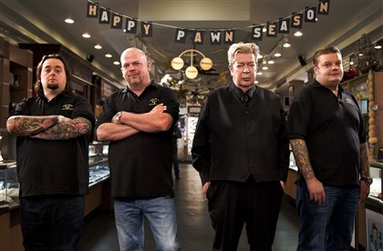 "20140223PawnStars Chumlee, Richard Harrison, Rick Harrison and Corey Harrison of ""Pawn Stars."""