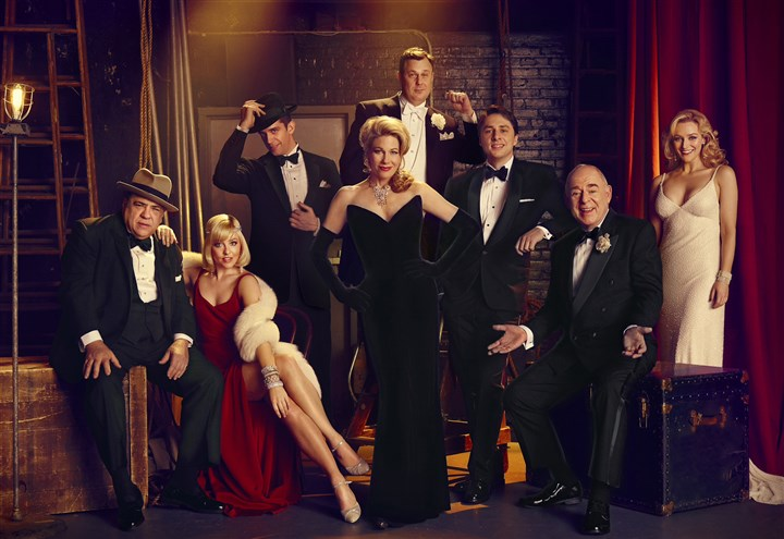 "'Bullets over Broadway' cast The stars of ""Bullets Over Broadway"" are, from left, Vincent Pastore, Helene Yorke, Nick Cordero, Marin Mazzie, Brooks Ashmanskas, Zach Braff, Lenny Wolpe and Betsy Wolfe."