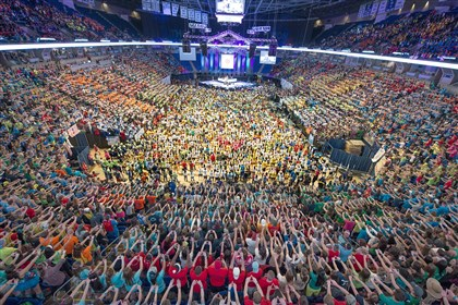 THON 2014 begins Students and supporters fill the Bryce Jordan Center for the start of THON 2014.