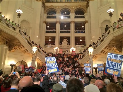 Union members at Capitol rotunda in Harrisburg Hundreds of union members chanting and waving signs jammed the Capitol rotunda in Harrisburg to capacity on Jan. 28, rallying against a bill they say would harm their ability to collect dues and political contributions from members. The rally was organized by the Pennsylvania AFL-CIO.