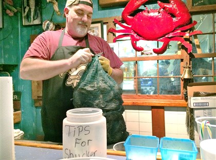 Shrek is the resident oyster shucker In Houma, La., Shrek is the resident oyster shucker at 1921 Seafood.