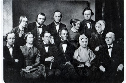 Pennsylvania Anti-Slavery Society, 1851 Executive Committee of the Pennsylvania Anti-Slavery Society, 1851. Standing, from left : Mary Grew, Edward M. Davis, Haworth Wetherald, Abby Kimber, J. Miller McKim and Sarah Pugh. Seated, from left: Oliver Johnson, Margaret Jones Burleigh, Benjamin C. Bacon, Robert Purvis, Lucretia Mott, James Mott. courtesy of the Friends Historical Library of Swarthmore College