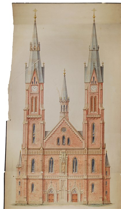"20140221hoRenderingmag ""St. Vincent Kapelle Convent"" (""St. Vincent Monastery Chapel""), Br. Cosmas Wolf, O.S.B., ink with wash and graphite on paper, ca. 1890-1892, 16.375 x 9.5 inches. St. Boniface, Br. Cosmas Wolf, O.S.B., polychromed wood, ca. 1892-1894 Approximately 38 x 11.5 x 10.5 inches"
