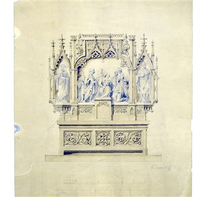 20140221hostvincentamag Saint Vincent Art Collections. An 1890s drawing by Brother Cosmas Wolf for an altar in a chapel at Saint Vincent Monastery. Its centerpiece is the Holy Family with the Magi.