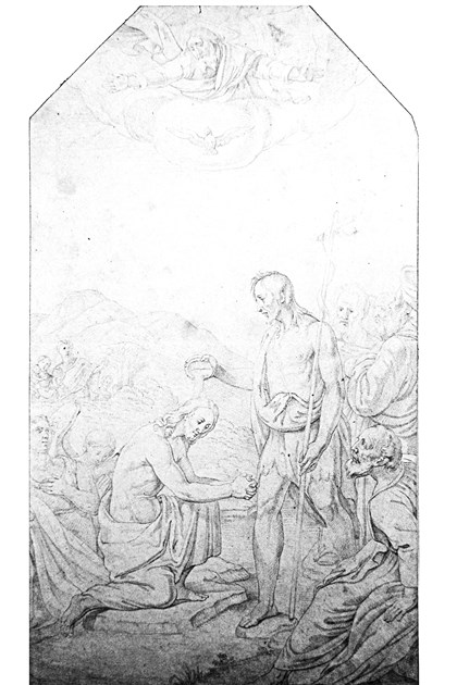 "20140221hostvincent3mag Saint Vincent Art Collections ""Study for a Painting of the Baptism of Christ"" is a drawing attributed to Brother Cosmas Wolf."