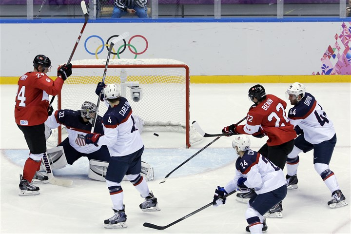 Sochi Olympics Ice Hockey Men Canada forward Jamie Benn scores the lone goal of the men's semifinal ice hockey game against the USA at the 2014 Winter Olympics today.