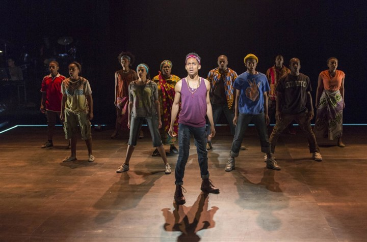 "Witness Uganda Griffin Matthews and the cast of ""Witness Uganda"" at American Repertory Theater of Harvard University's Loeb Drama Center, Cambridge, Mass."