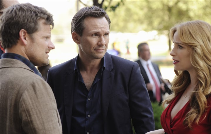 "20140225HOMindGames3 Steve Zahn, left, Christian Slater and Jaime Ray Newman in ""Mind Games."""