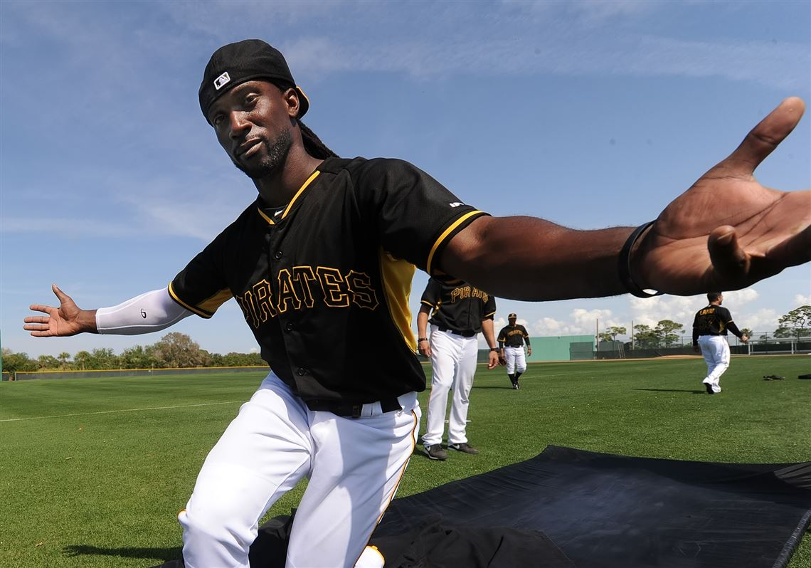 173bc8074 Andrew McCutchen mugs for the camera after completing his sliding drill  during afternoon workouts at Pirate