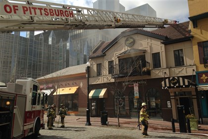 Market Square firefighters Firefighters battle a fire in Market Square.