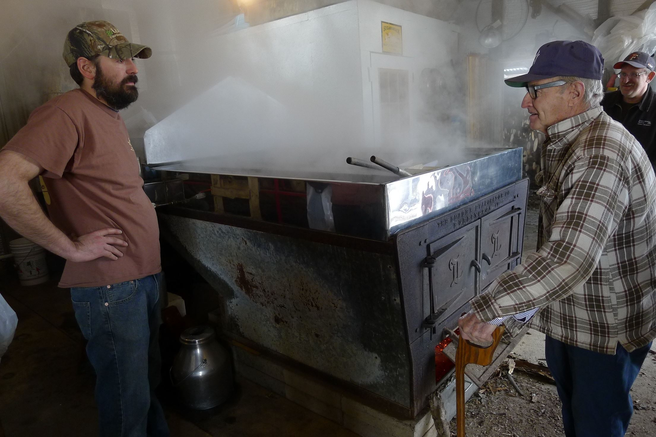 Sweet Traditions sugarhouse In the sugarhouse at Sweet Traditions near Corry, Erie County, John Wiggers Sr., visits his grandson Casey Catalfu, who on Feb. 23 was boiling the season's first maple sap.