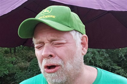 Carolina Reaper hot pepper 08 Dave Foreman of Eighty Four reacts to biting into a 'Carolina Reaper' hot pepper.