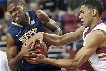 20140226pitt Pitt guard Josh Newkirk and Boston College guard Olivier Hanlan struggle for the ball during the first half