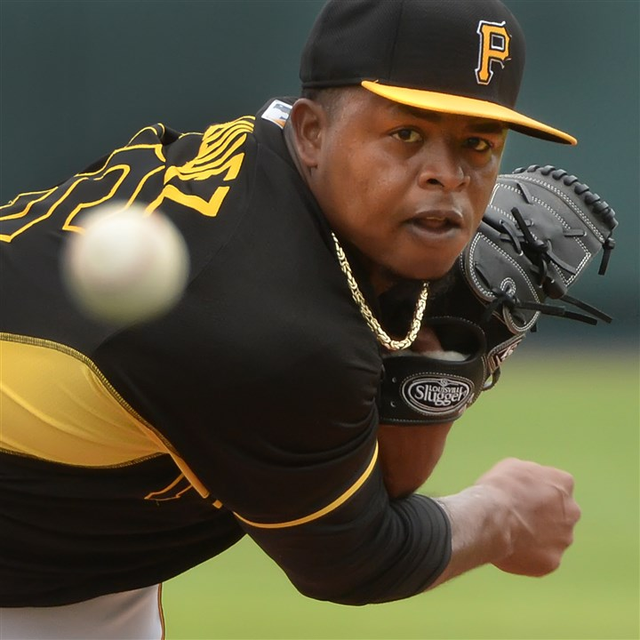 Pirates pitcher Edinson Volquez Pirates pitcher Edinson Volquez delivers against the Yankees Wednesday afternoon at McKechnie Field in Bradenton, Florida.