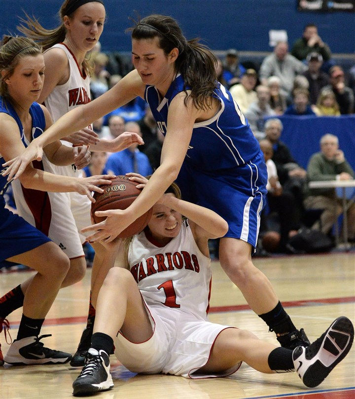 hstripgirls Elizabeth Forward's Alison Pastore fights for the ball against South Park's Melissa Smith Wednesday night.