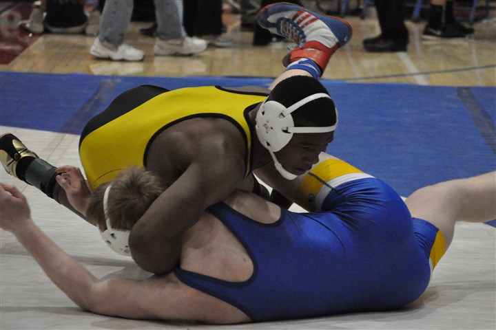 Fields_1.jpg Valley's Terrell Fields wrestles West Greene's Dalton Wildman in the 182-pound title match at the WPIAL Class AA championship meet. Fields won by pin at 1:16.