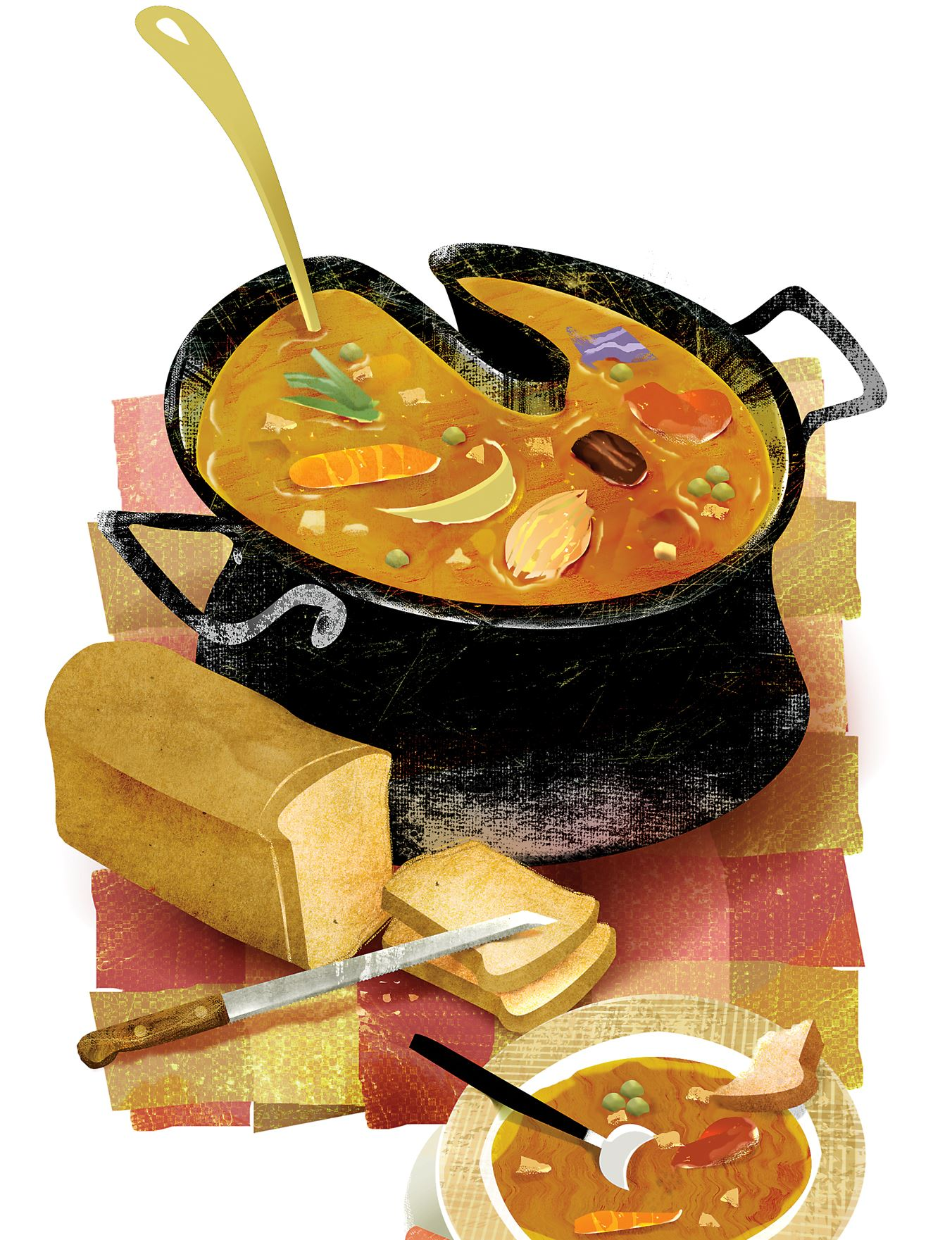 Illustration of soup and bread
